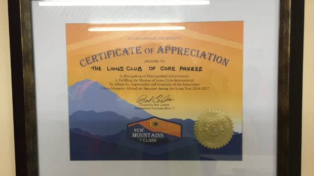 The Gore Pakeke LIons Club received a worldwide Lions Club award, the International President's Certificate of ...