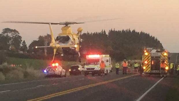 The Taranaki Rescue Helicopter attends crash south of Stratford.