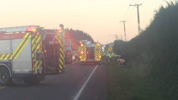 State Highway 3 has been blocked after a two-car crash.