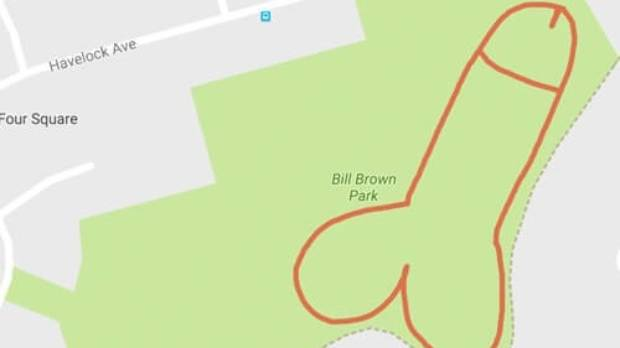 A penis drawn via GPS at Bill Brown Park for Testicular Cancer Month.