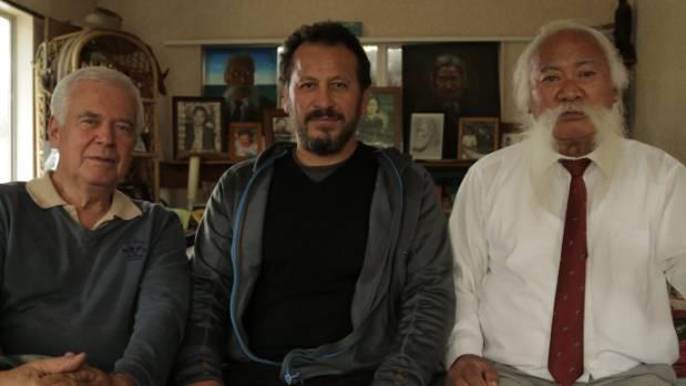 Film-makers Michael Havas and Julian Arahanga with Wiremu Williams.