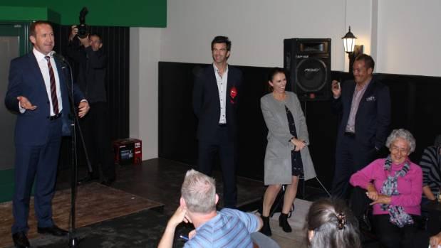Labour leader Andrew Little, Deputy leader Jacinda Ardern, Rotorua candidate Ben Sandford and Waiariki candidate Tamati ...