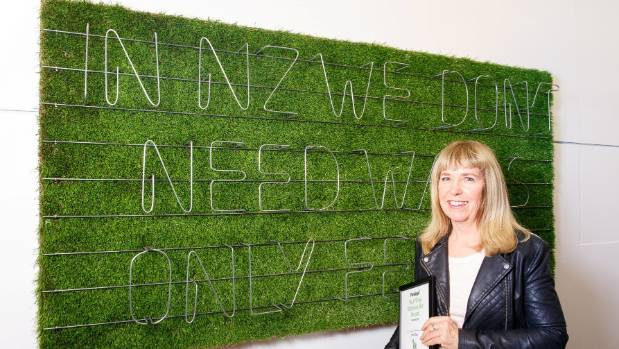 The top prize went to Auckland's Jill Godwin for her work called The No.8 Wire Lettering System: Fences vs Walls.