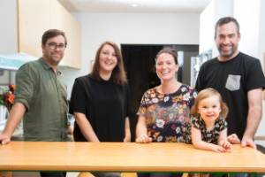 From left: Hamish Stirrat and Nicole Tweddell, with Amy Heslop, daughter Ivy and partner Tomas Snedden. The two families ...