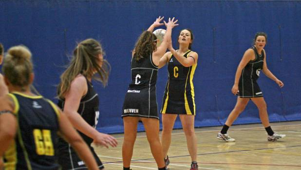 Kaiapoi's Brittany File looks for a passing option against Methven in the first round of the Inter Centre Netball ...