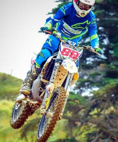 Taranaki's Leroy Gwynn (Husqvarna), hoping to turn local track knowledge into points this weekend.