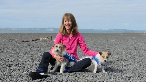 Nicky Martin with her dogs Pypa and Lacee who raised $1640 for the Napier SPCA.