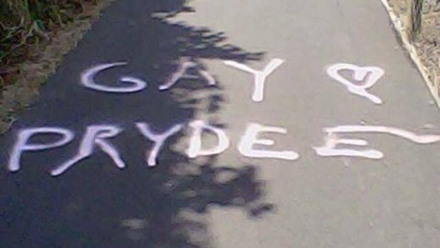 Graffiti around Dunedin targeting Daniel Pryde.