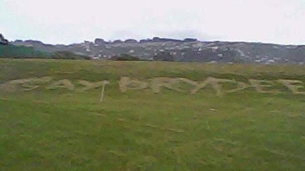 Graffiti targeting Daniel Pryde around Dunedin.