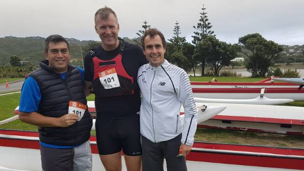 Mike Tana, Mahe Drysdale and  Dougal Thorburn at the Porirua Grand Traverse.