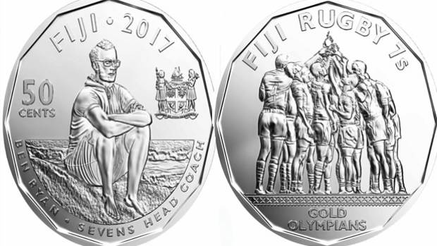 The two sides of Fiji's commemorative coin minted in honour of their Olympic gold-winning rugby sevens team.