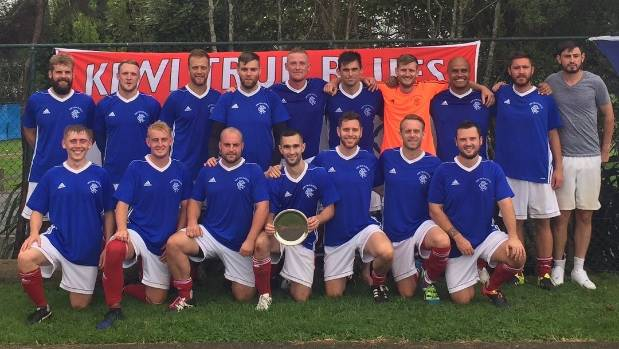 The Kiwi True Blues won the Auckland Sunday Football Association's Charity Shield last year.