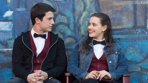 Dylan Minnette and Katherine Langford as Clay and Hannah in 13 Reasons Why.