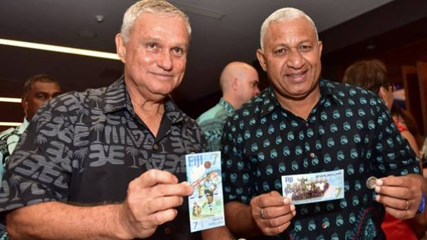 Fiji Reserve Bank Governor Barry Whiteside with Prime Minister Voreqe Bainimarama at the launch of the commemorative ...