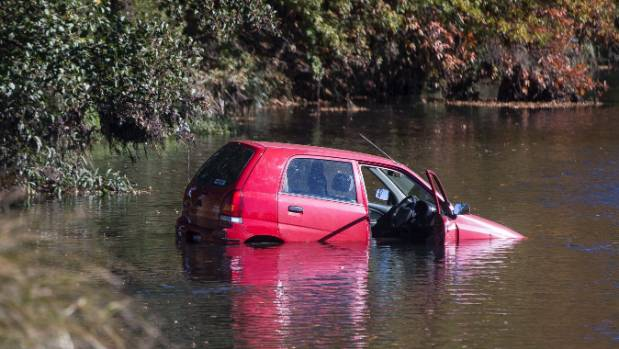 A car drove into the Avon River near the corner of Avonside Dr and Woodham Rd on Friday afternoon.