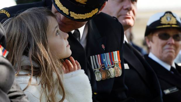 Former Waimea College student and now Royal New Zealand Navy Commander Brendon Oakley speaks with his daughter Brooklyn ...