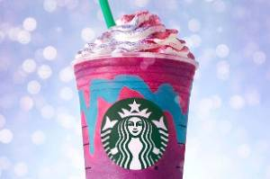 The new Starbucks Unicorn Frappuccino is certainly colourful.