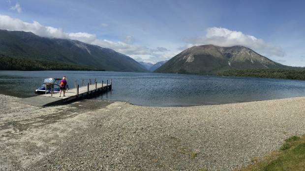 A panoramic view of Lake Rotoiti, one of the Nelson Lakes, South Island. A stroll from St. Arnaud, you get a beautiful ...