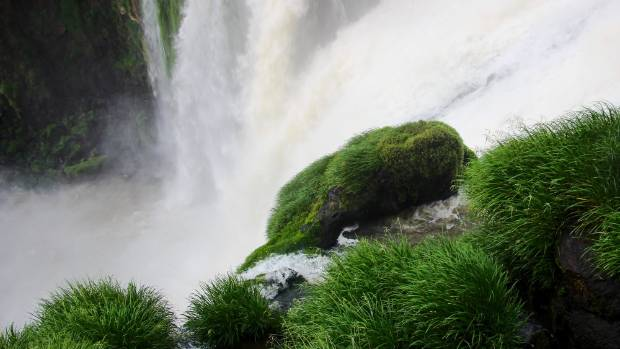 I took this photo leaning over the railing at Iguazu Falls, Argentina, as it just started raining, and I felt as if I ...
