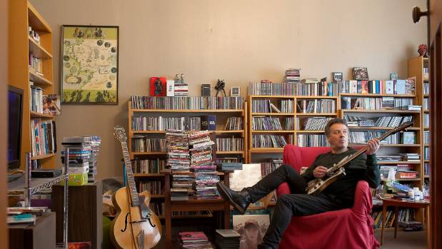 Martin Phillipps' home is stacked with music memorabilia.