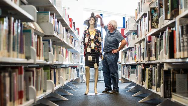 Trade Aid trustee John Marshall with a mannequin that is part of a display at the Nelson Elma Turner Library to raise ...