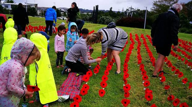 Children from the Hobsonville Point Early Learning Centre also mucked in.