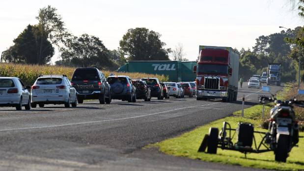 Traffic was backed up near the scene of the scene of the fatal crash north of Tokoroa, after two motorcyclists were ...