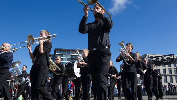 Woolston Brass Band competes in the march.