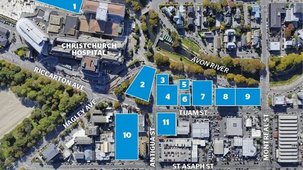 The Christchurch Health Precinct is coming together. 1) Acute Services; 2)  Outpatients; 3) Terrace House leased by ...