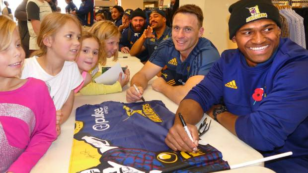Invercargill rugby fans Zoe Modie,7, Siobhan Maguire,7, Niamh Magiure,6, and Keira Moodie,9, got to meet star ...