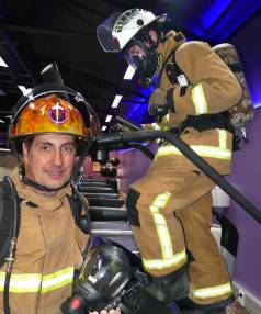 Riverton fire station officer Darren Stenning with firefighter Logan Kennedy who is climbing 1103 steps on the step ...
