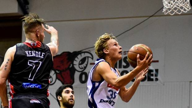 Giants guard Kyle Adnam attacks the hoop during his team's win against the Canterbury Rams in Christchurch on Friday.