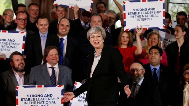 UK Prime Minister Theresa May with supporters after delivering her first speech of the election campaign on Wednesday.
