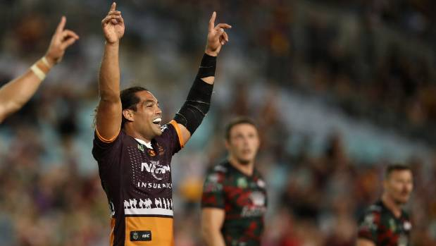 Adam Blair of the Broncos celebrates Brisbane's victory after Anthony Milford's 78th-minute field goal.
