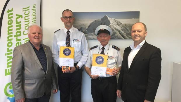 ECan southern public transport officer Tony Henderson, left, with bus drivers Tim Leatham and Roy Crosbie and Ritchies ...
