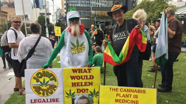 Around 200 protesters gathered in Auckland to call for the legalisation of medicinal cannabis.