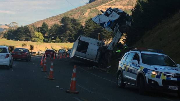 An overturned truck on State Highway 1 between Palmerston and Hampden in Otago.