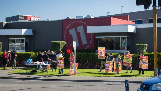 In April, workers from the KFC in Hornby, Christchurch walked off the job.
