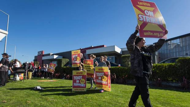 KFC workers strike outside the Hornby store in Christchurch.