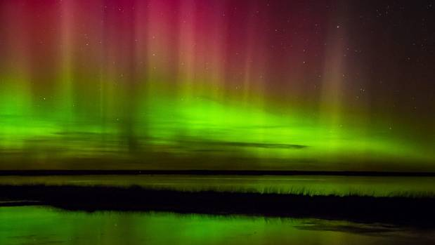 The aurora, as viewed from Lake Ellesmere in Canterbury.