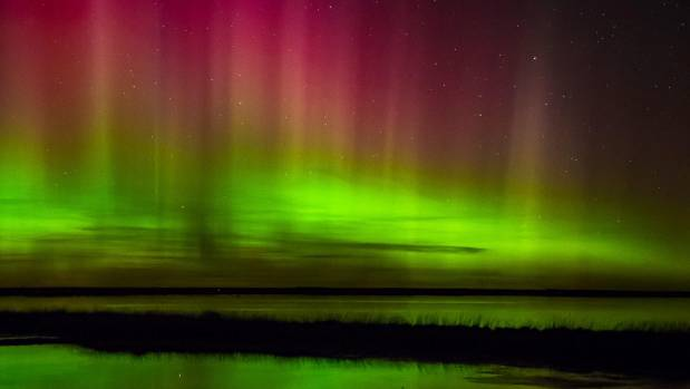 The Aurora As Viewed From Lake Ellesmere In Canterbury
