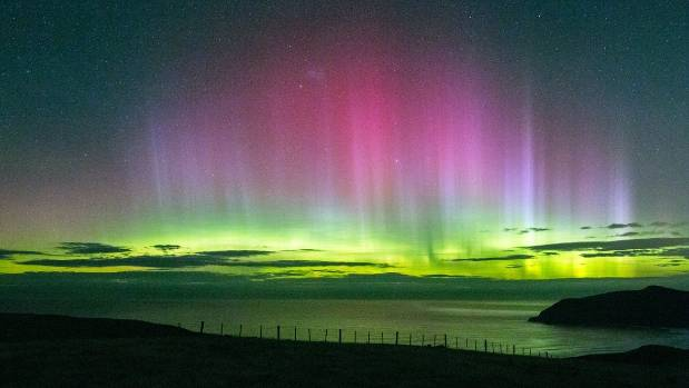 A stunning rainbow of lights was spotted from Cape Saunders on the Otago Peninsula.