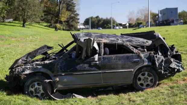 The Subaru that crashed on the Christchurch Southern Motorway (SH76).