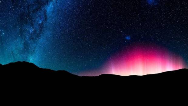 The Milky Way and the Aurora seen from Castle Hill, Canterbury.