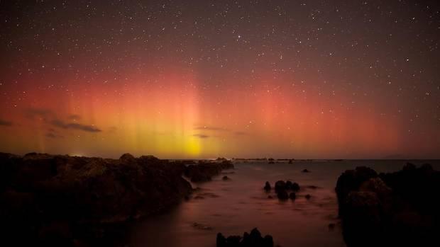 Wellington's south coast lit up on Sunday night.