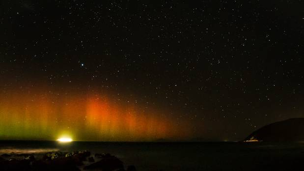 Red Rocks, in Wellington, was an ideal place to spot the Aurora on Sunday night.