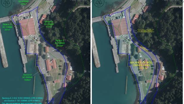 Left - Wellington City Council land ownership at Shelly Bay, showing details of the existing land parcels. Right - ...