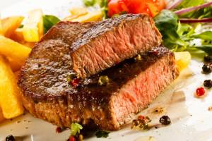 Beef steak is a recommended source of iron.