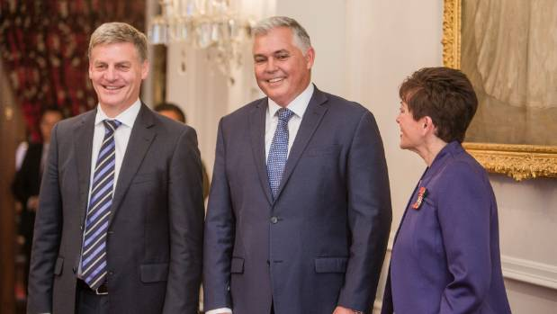 Prime Minister Bill English with newly-promoted Defence Minister Mark Mitchell during his swearing in last year with ...