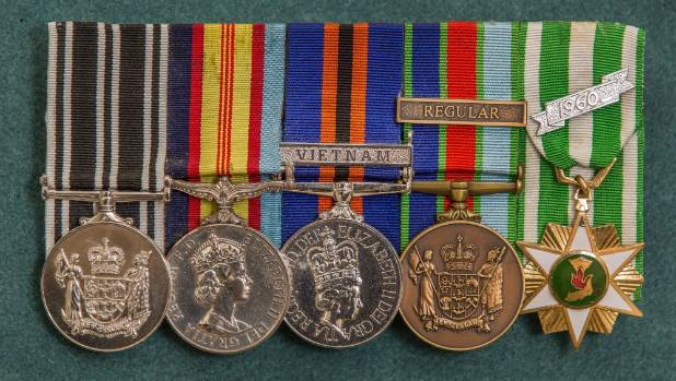 Derrick Marsh's medals, left to right, NZ Operational Service Medal, The Vietnam Medal, NZ General Service Medal ...